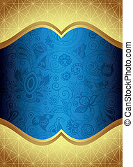 Abstract Blue Floral Frame