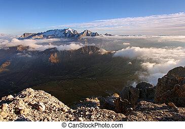 Mountain Marmolada at sunset in Italy Alps Dolomiti