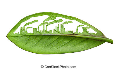 industrial city, cut the leaves of plants, isolated over...