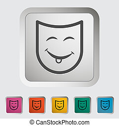 Theatrical mask Single icon Vector illustration