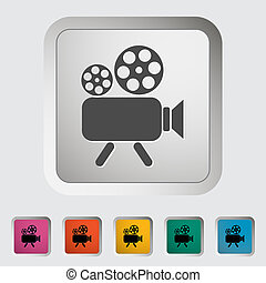 Videocamera. Single icon. Vector illustration.