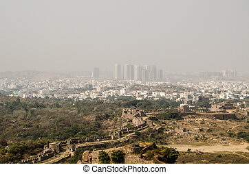 Hyderabad and HiTec City - View from the historic Golkonda...