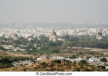 View from Golkonda Fort towards Sev - View from the top of...