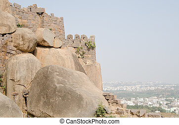 Golkonda Fort, Hyderabad - View of the outer walls of...