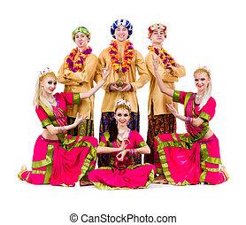 dancers dressed in Indian costumes posing - dance team...
