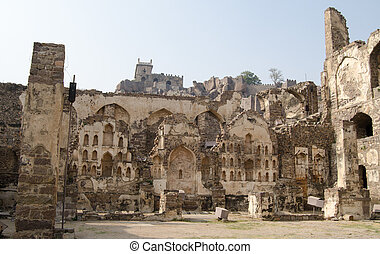 Golkonda Fort, Hyderabad - Ruins of the Medieval fortress at...