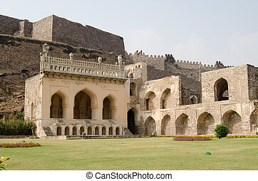 Golkonda fort lawn, India - Ruins and gardens of the...