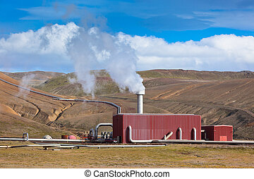 Geothermal Power Station in Iceland at Summer Sunny Day -...