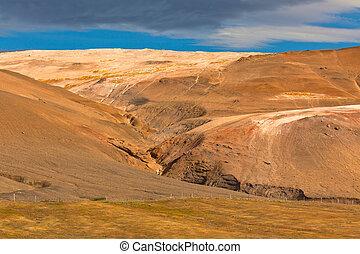Iceland Mountains landscape. Hverir sulfuric springs....