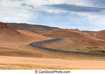 Winding Highway through Iceland Mountains landscape Hverir...