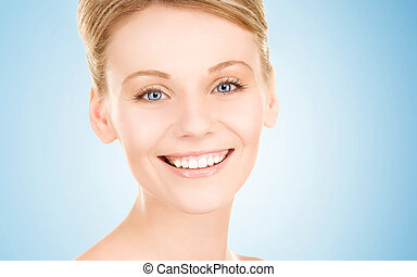 lovely woman - bright picture of lovely woman over blue