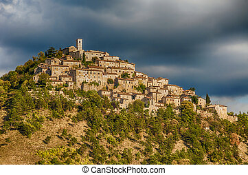 Umbria - Village in Umbria (Italy) and mountains at summer