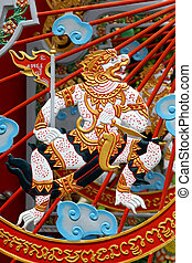 Hanuman - Ramayana monkey god ride on the cloud