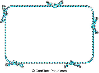 rope frame with knots - vector illustration of a rope frame...