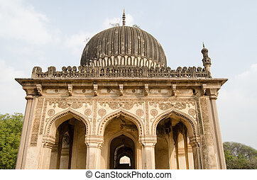 Tomb Facade, Golconda - Facade of one of the Qutub Shahi...