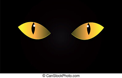 Cat eyes - Vector cats eyes in dark night. Isolation.