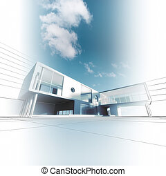 Modern architecture. Building design and 3d model my own