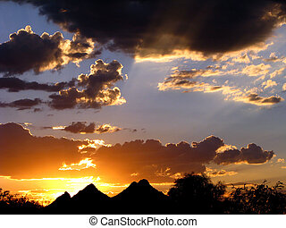 Monsoon Sunset - Tucson Mountains