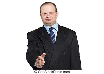 Businessman gives his hand to say hello - Businessman in a...