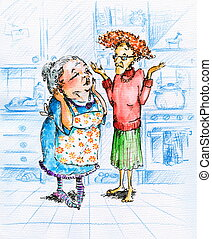 Old women - Two old women talking in kitchen.Picture created...