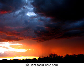 Monsoon Sunset - Tucson Monsoon Rains