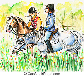 Horse riding - Daughter and mum riding horses together...