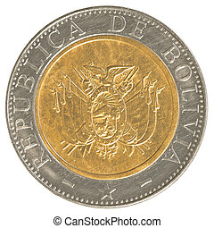 five bolivian bolivianos coin isolaten on white background