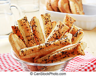 Puff Pastry Straws with Caraway Seeds