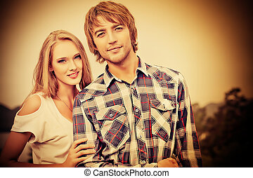 girlfriend - Portrait of a young people in love enjoying to...