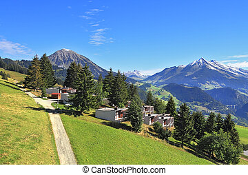 Gorgeous weather in the resort town of Leysin in the Swiss...