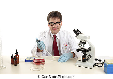 Scientist, biologist at work preparing slides - A scientist,...
