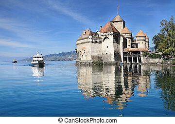 The Chacirc;teau de Chillon on Lake Geneva - World-wide...