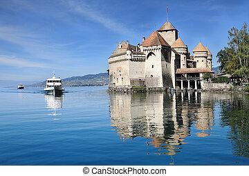 The Château de Chillon on Lake Geneva - World-wide...