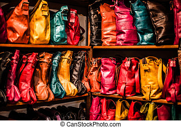 Bags, purses, hats and other products of the Moroccan...