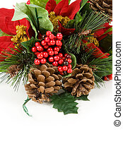 Christmas Decoration, Poinsettia, Pinecone, Holly