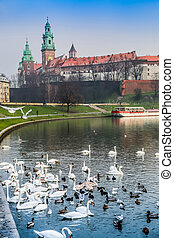 Wawel Castle and Wistula Krakow Poland - View of the ancient...