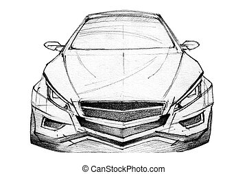 Car Sketch - Hand Drawn Illustration Of A Modern Car