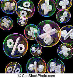 Discounting concept - Percentage symbols in soap bubbles as...