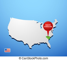 South Carolina on USA map