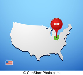 Ohio on USA map