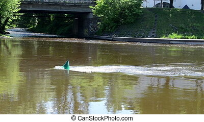 river people transport - Buoy river Neris in Vilnius city...