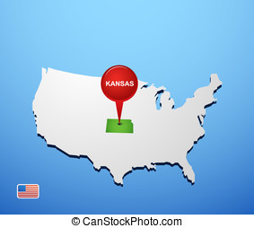 Kansas on USA map