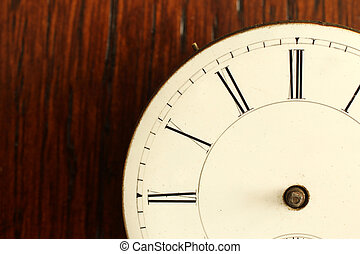 Timeless: detail of broken Antique Watch face with no hands...