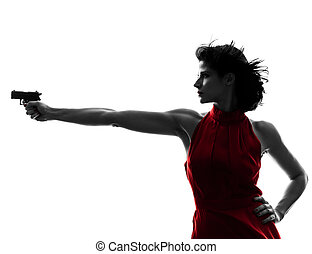 sexy woman holding gun silhouette - one sexy caucasian woman...