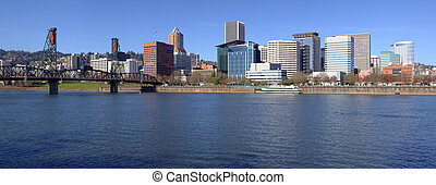 Portland OR. Skyline panorama and River. - Portland OR....
