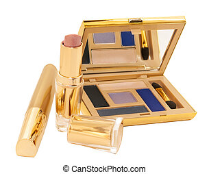 gold make up collection isolated