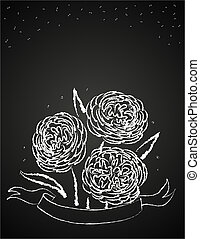 chalk flowers on blackboard - Abstract vector illustration...