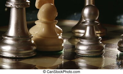 Chess pieces - Chess set, silver pawns, tracking