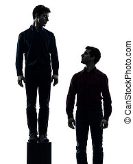 two men twin brother friends dominant concept silhouette -...