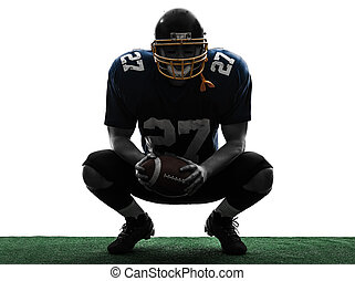american football player man crouching silhouette - one...